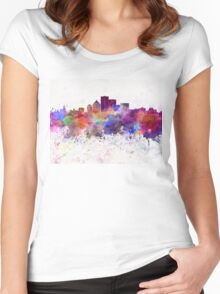 Rochester NY skyline in watercolor background Women's Fitted Scoop T-Shirt