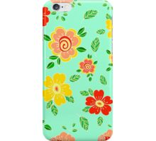 Colorful hand drawn floral print iPhone Case/Skin
