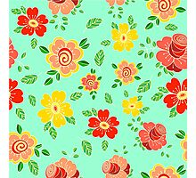 Colorful hand drawn floral print Photographic Print