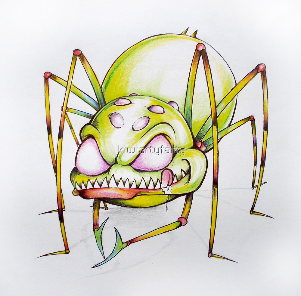 Green spider licking his lips by Brian Gibbs