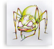 Green spider licking his lips Canvas Print