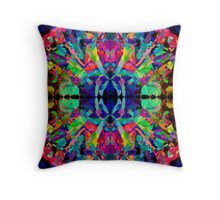 Abstract Psychedelic Rainbow Gem on Black Throw Pillow