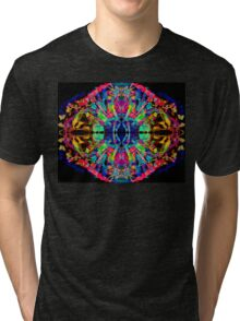 Abstract Psychedelic Rainbow Gem on Black Tri-blend T-Shirt