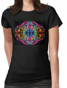 Abstract Psychedelic Rainbow Gem on Black Womens Fitted T-Shirt