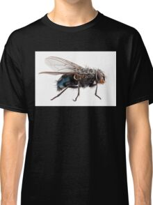 Blue bottle fly species calliphora vomitoria isolated on white background Classic T-Shirt