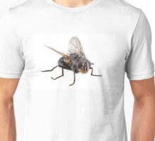 Blue bottle fly species calliphora vomitoria isolated on white background Unisex T-Shirt