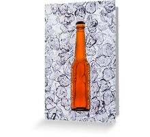 Beer on ice cubes fragmented in vertical Greeting Card