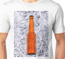 Beer on ice cubes fragmented in vertical Unisex T-Shirt