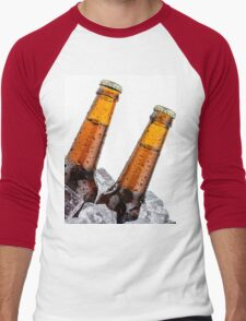 Beers on ice with copyspace isolated on white background Men's Baseball ¾ T-Shirt