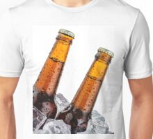 Beers on ice with copyspace isolated on white background Unisex T-Shirt