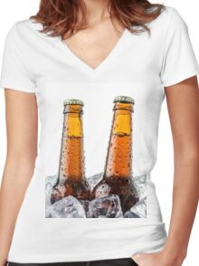 Beers on ice cubes whit water drops Women's Fitted V-Neck T-Shirt