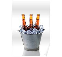 Beer bottles in a bucket of ice isolated on white background Poster