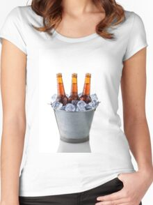 Beer bottles in a bucket of ice isolated on white background Women's Fitted Scoop T-Shirt