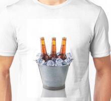 Beer bottles in a bucket of ice isolated on white background Unisex T-Shirt