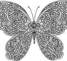 Hand drawn butterfly print by lenkisart