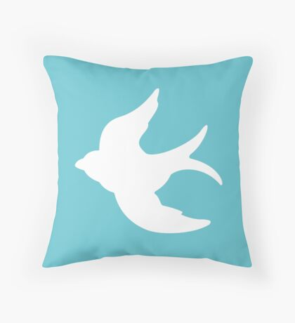 White Flying Swallow, Turquoise Sky Throw Pillow