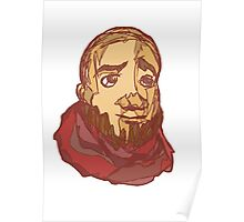bearded pink scarf man Poster
