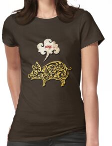 Golden pig decoration Womens Fitted T-Shirt