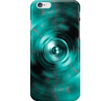 Music speaker on spinning green background iPhone Case/Skin