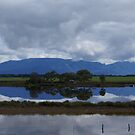 view across lake to the Grampians Victoria Australia by BronReid