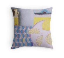 Lemons with tablecloth Throw Pillow