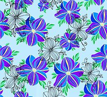 Bright blue orchid print by lenkisart