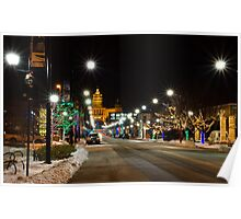 Christmas Light Around Downtown Des Moines Poster