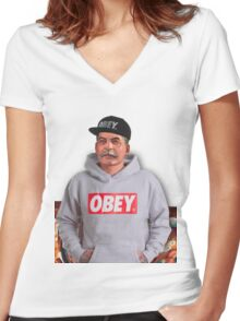 OBEY STALIN Women's Fitted V-Neck T-Shirt