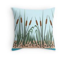 Reeds on the river Throw Pillow