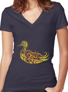 Duck pattern decoration Women's Fitted V-Neck T-Shirt