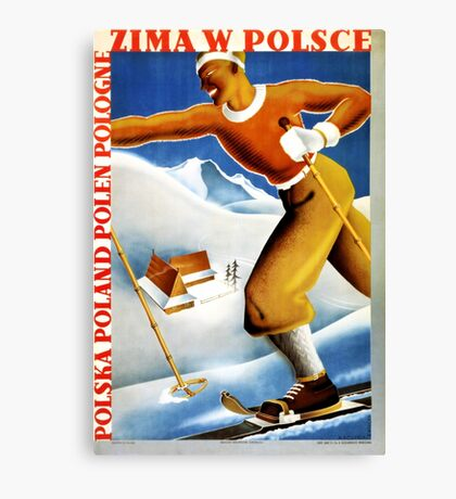 Poland Zima Ski Vintage Travel Poster Restored Canvas Print