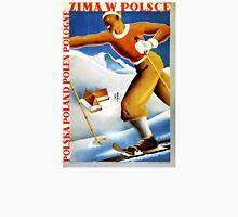 Poland Zima Ski Vintage Travel Poster Restored Unisex T-Shirt