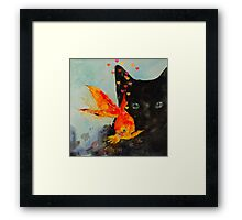 Black cat and the Gold fish,,Enjoy ! Framed Print