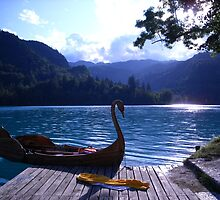 Swan Boat Summer in Lake Bled, Slovenia by Erin Flynn