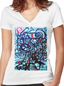 Psychedelic Cityscape Women's Fitted V-Neck T-Shirt