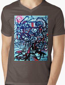 Psychedelic Cityscape Mens V-Neck T-Shirt