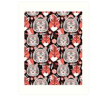 beautiful pattern  portraits of tigers and foxes Art Print