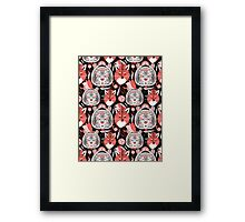 beautiful pattern  portraits of tigers and foxes Framed Print