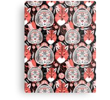 beautiful pattern  portraits of tigers and foxes Metal Print