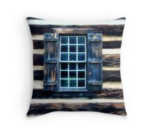 Panes in a Log Wall Throw Pillow