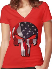 American Punisher Women's Fitted V-Neck T-Shirt