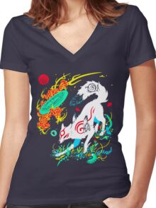 Kami of the Rising Sun  Women's Fitted V-Neck T-Shirt