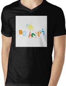 Be happy. Mens V-Neck T-Shirt