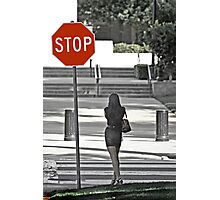Stop... Look Both Ways Before Crossing Photographic Print