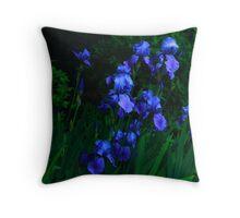 Blue Iris patch Throw Pillow