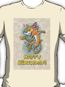 Jumping Happy Party Cat - Birthday Card T-Shirt