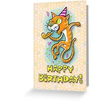 Jumping Happy Party Cat - Birthday Card Greeting Card