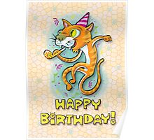 Jumping Happy Party Cat - Birthday Card Poster