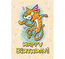 Jumping Happy Party Cat - Birthday Card Photographic Print