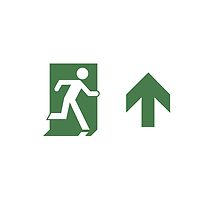 Running Man Emergency Exit Sign, Right Hand Up Arrow by Egress Group Pty Ltd